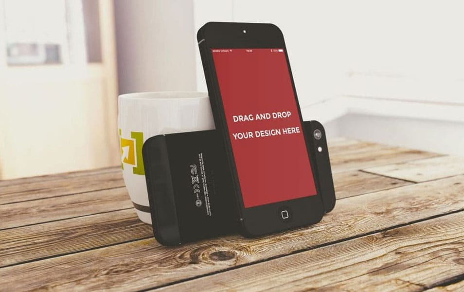 Free Standing iPhone Mockup