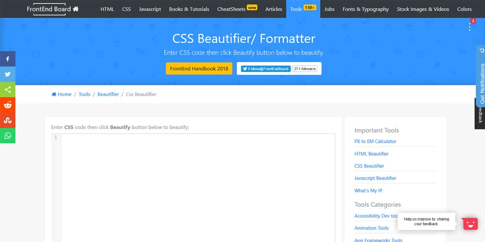 Frontend Board CSS Beautifier