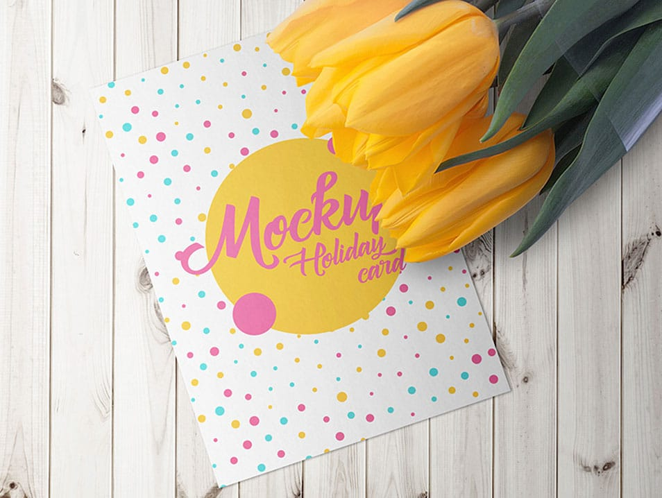 Holiday Card With A Tulips PSD Mockups