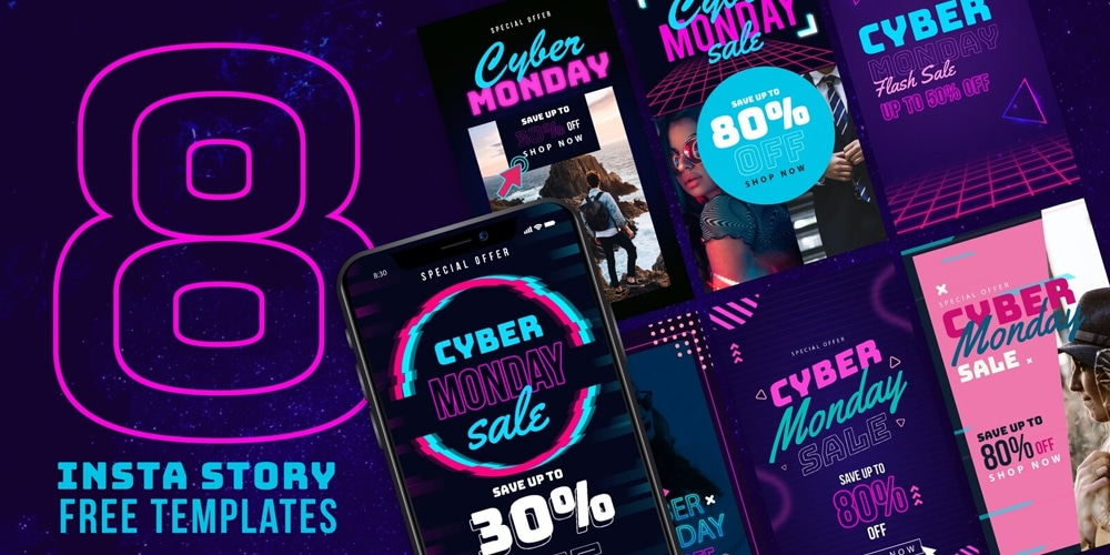 Instagram Story Templates for Cyber Monday Sale