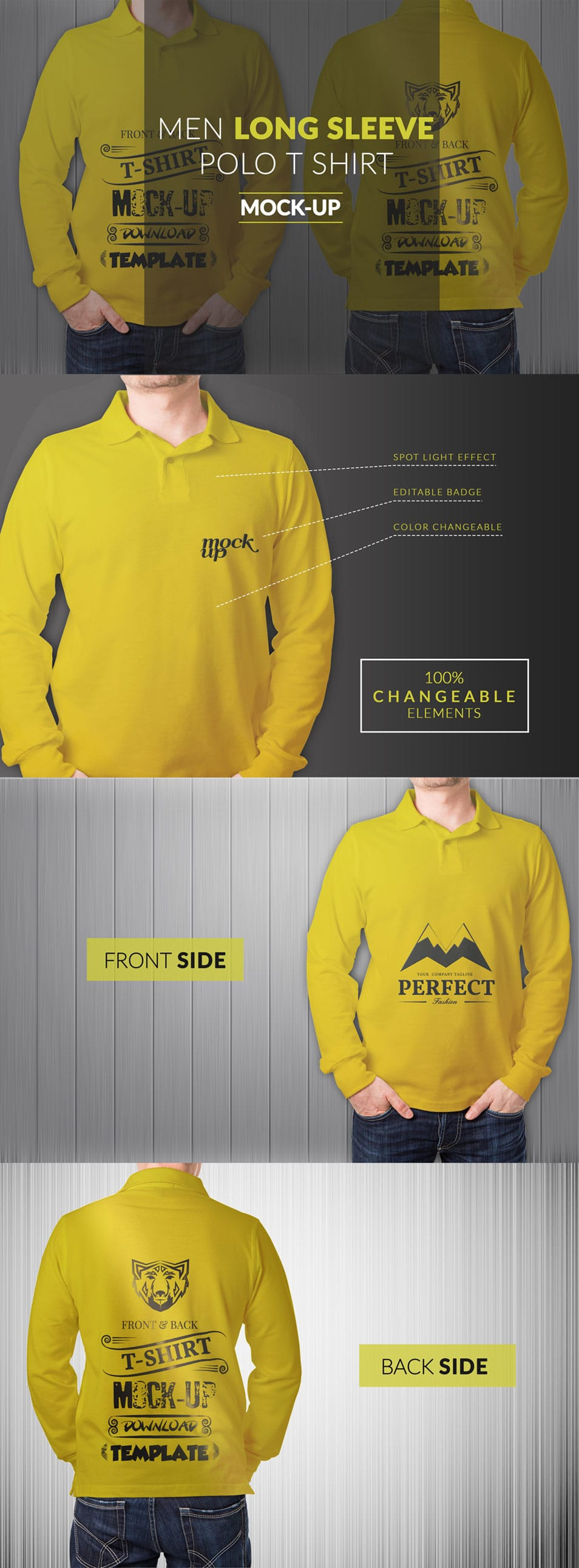 Long Sleeve Men Polo Shirt Mock up pSD