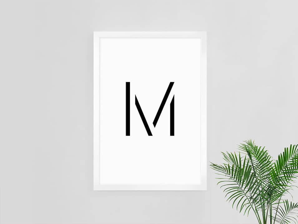 M Poster Mockup with Palm Tree Interior