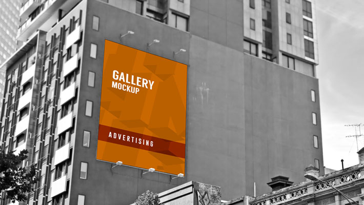 Outdoor Large Poster Mockup On Building Advertising Wall