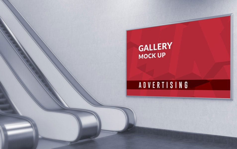 Photo realistic Horizontal Advertising Gallery Mockup