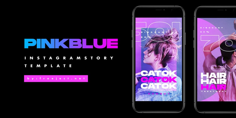 Pink Blue Instagram Story Photoshop Template