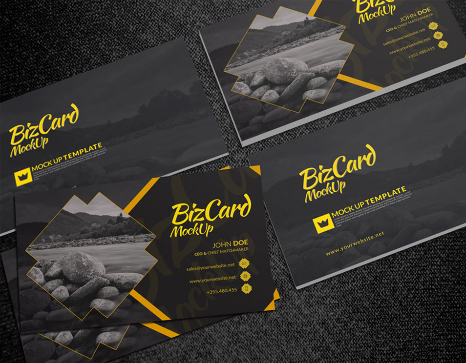 PSD Card Mockup Showcasing Front and Back Side Designs