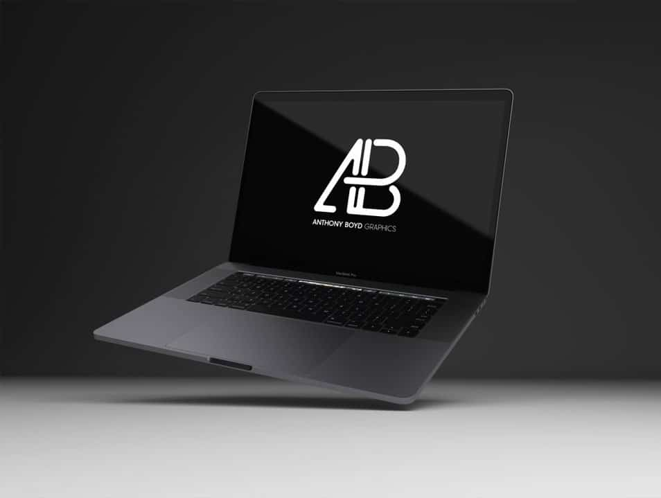 Realistic Space Gray Macbook Pro Mockup