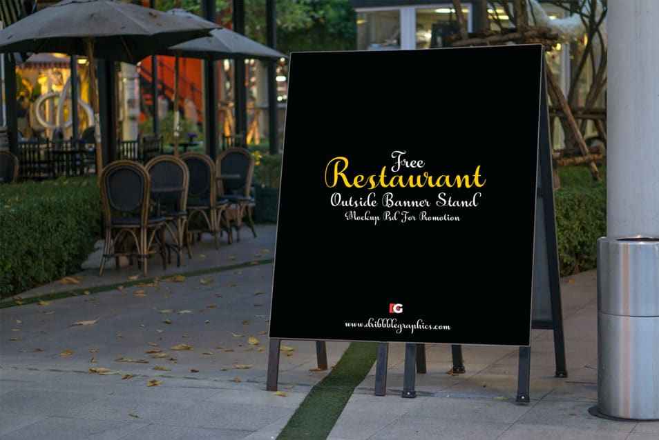 Restaurant Outside Banner Stand Mock-up PSD For Promotion