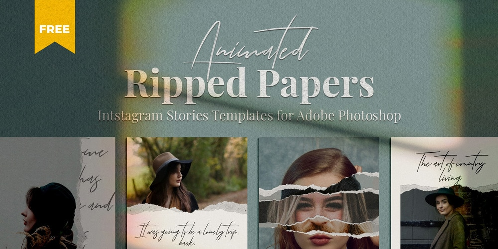 Ripped Paper Instagram Stories Template PSD