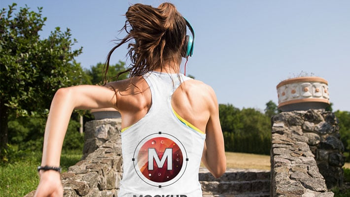 Running Girl Tank Top Backside Mockup For Logo Branding