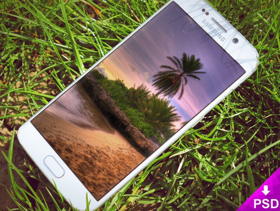 Samsung Galaxy S6 Edge Grass Mockup