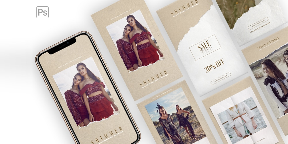Shimmer - Free Instagram Stories Templates PSD