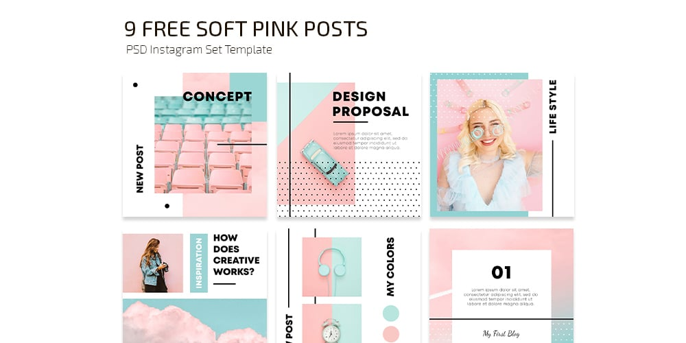 Soft Pink Instagram Post Template PSD