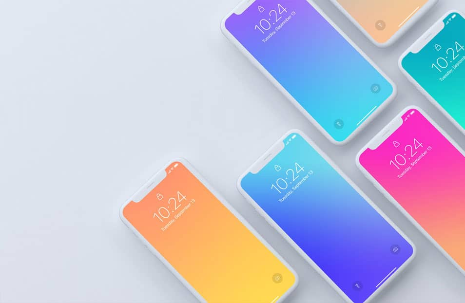 Top View of iPhone X Devices Mockup