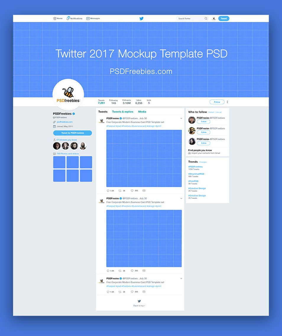 Twitter Mockup Template Free PSD