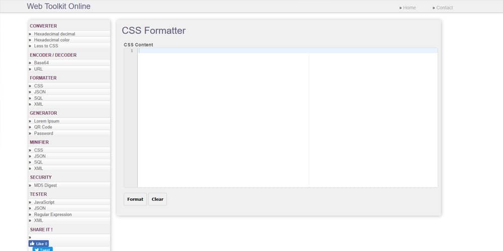 Web Toolkit Online CSS Formatter