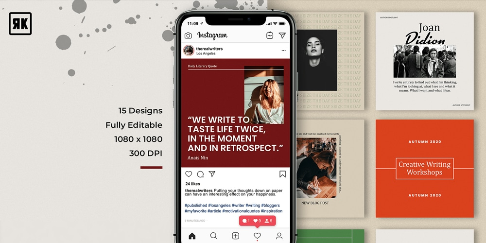 Writer's Block Instagram Post Templates PSD