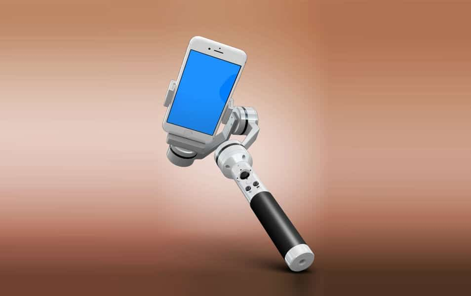 iPhone 7 with Selfie Stick Mockup