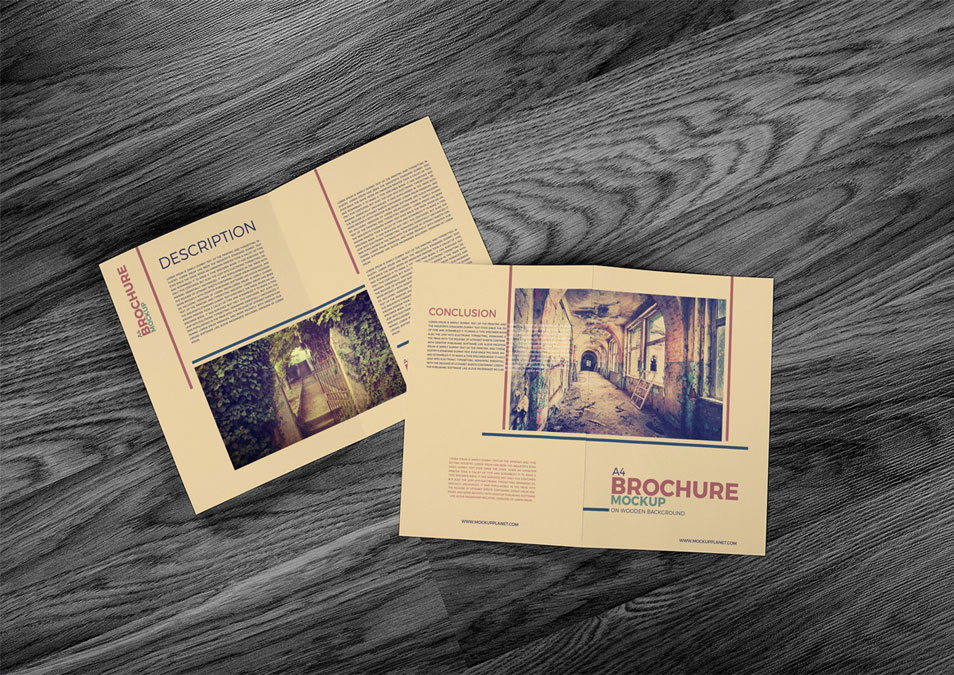 A4 Brochure Mockup on Wooden Background