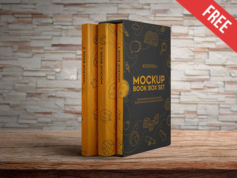 Book Box Set Free PSD Mockups