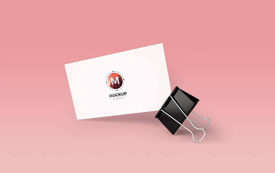 Business Card With Clip Mockup PSD