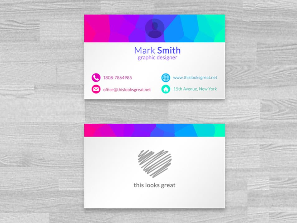 Colored Business Cards Mockup