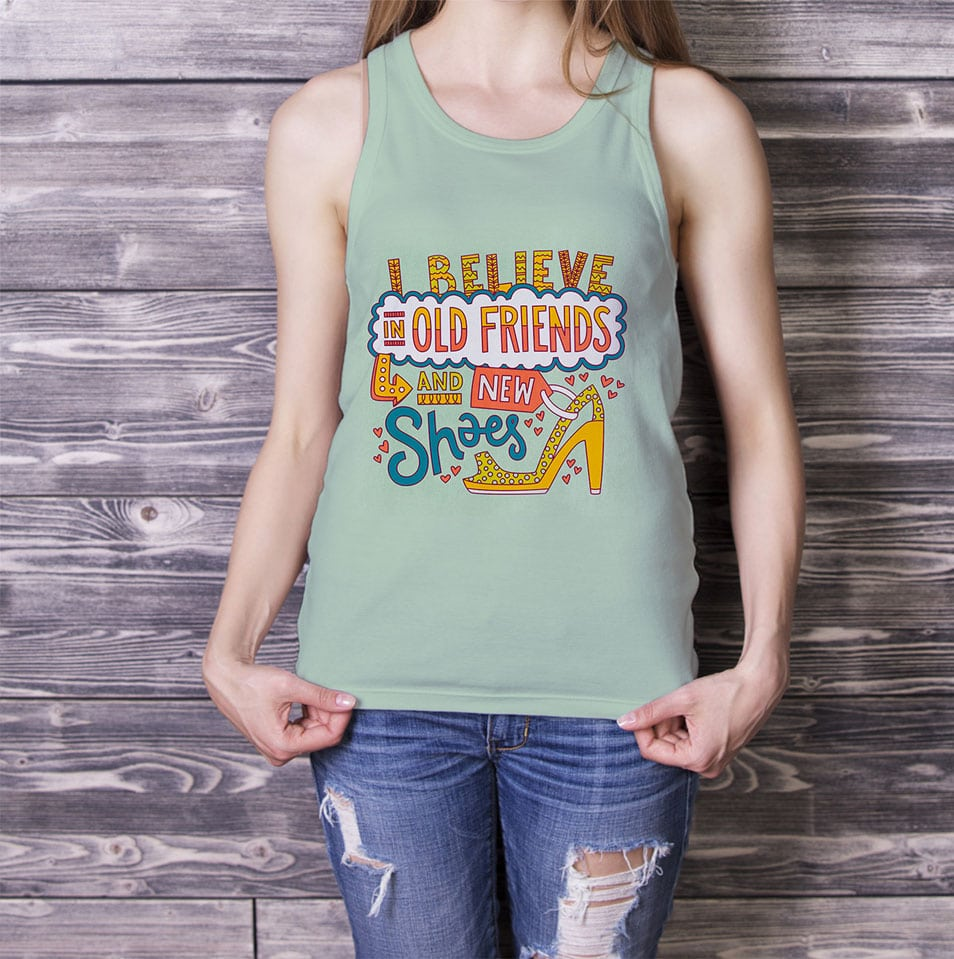 Free Girl in Tank Top Mock-up PSD