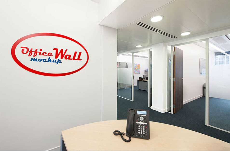 Free Indoor Office Wall Sign Mockup PSD
