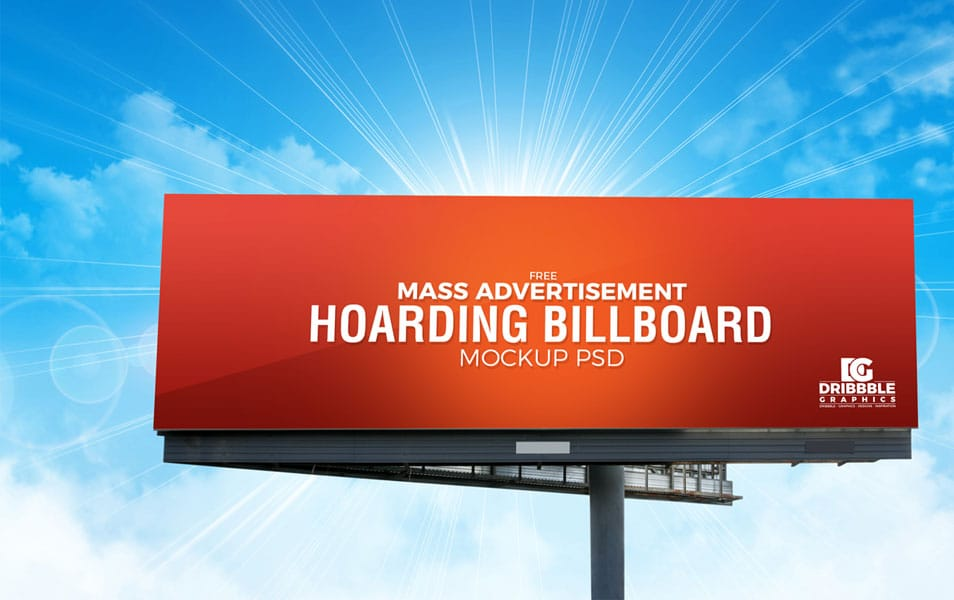 Free Outdoor Mass Advertisement Hoarding Billboard Mockup PSD