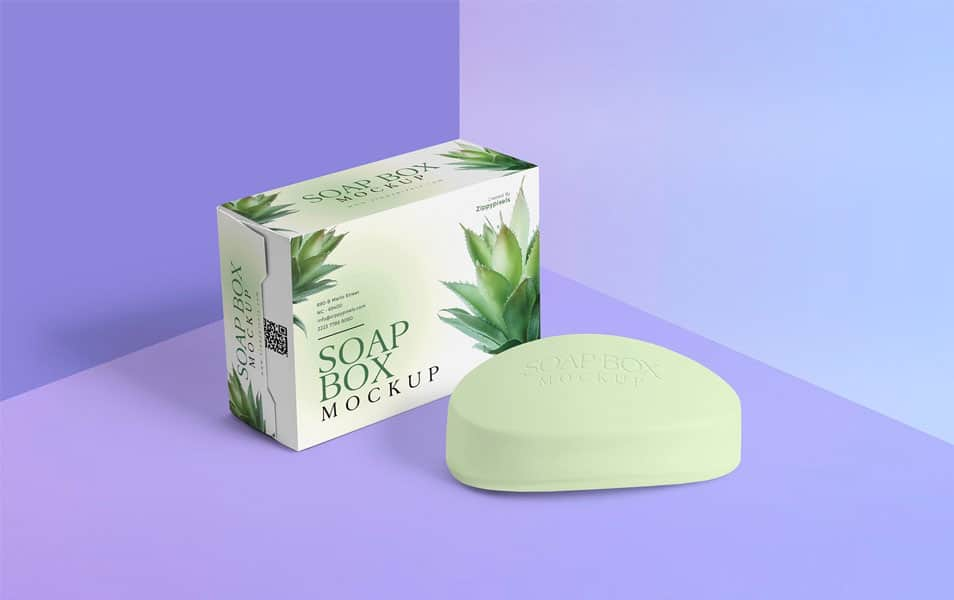 Free Packaging Box & Soap Mockup
