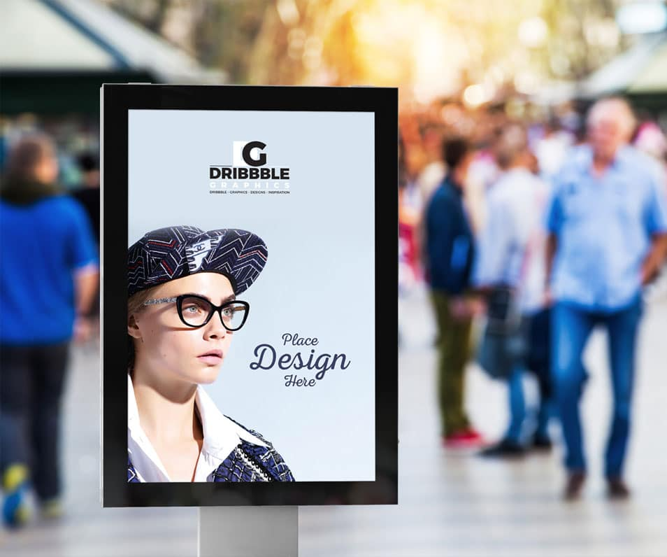 Free Public Place Vertical Billboard Mockup