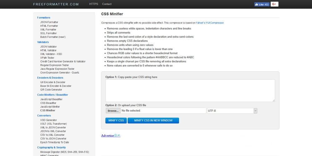 Freeformatter CSS Minifier