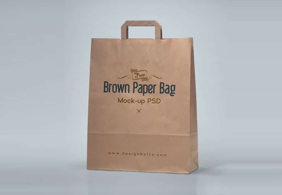High Quality Brown Shopping Bag Mockup