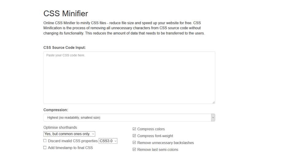 Online CSS Minifier