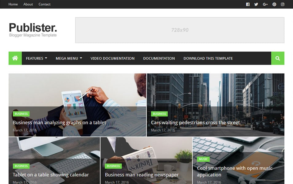 Publister Responsive Blogger Template