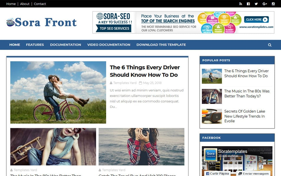 Sora Front Responsive Blogger Template
