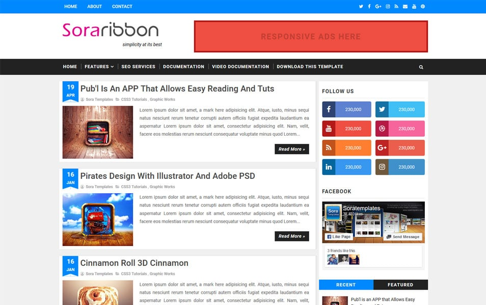 Sora Ribbon Responsive Blogger Template
