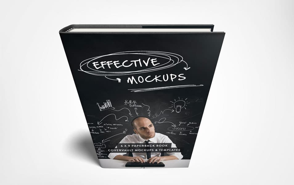 Standing 6 x 9 Hardcover Book Mockup with Dust Jacket