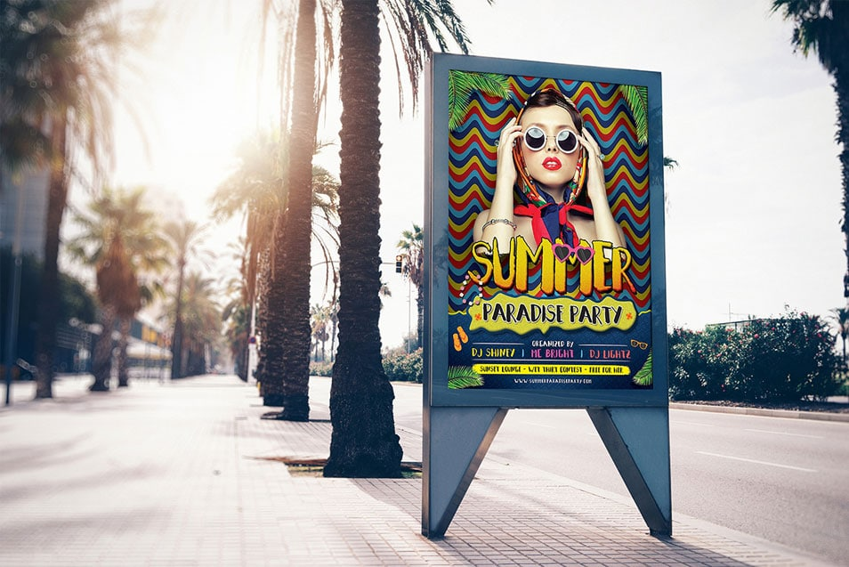 Street City Free Billboard Banner Mock-up PSD