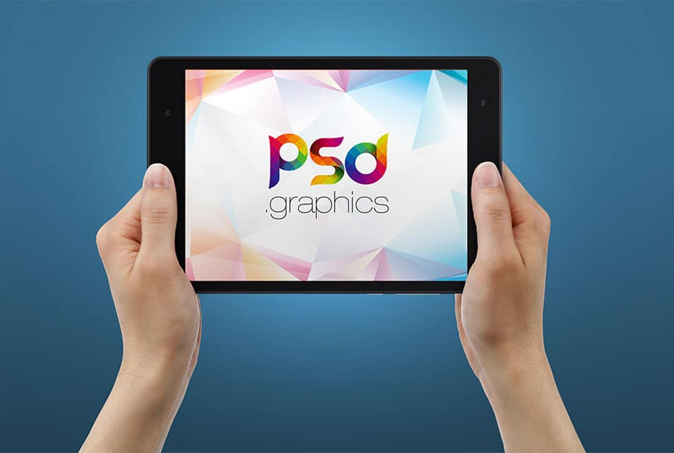 Tablet in Hand Mockup Free PSD