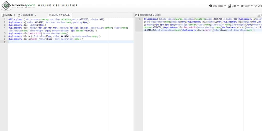Tutorialspoint Online CSS Minifier