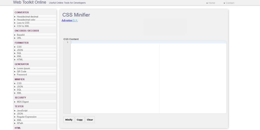 Webtoolkitonline CSS Minifier