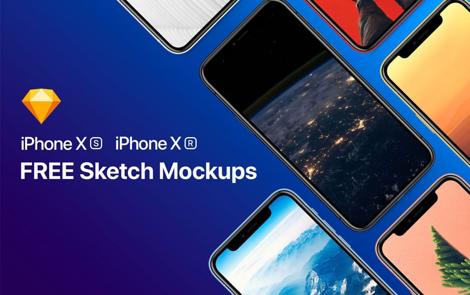 Free iPhone Xr, Xs and Xs Max Sketch Mockups