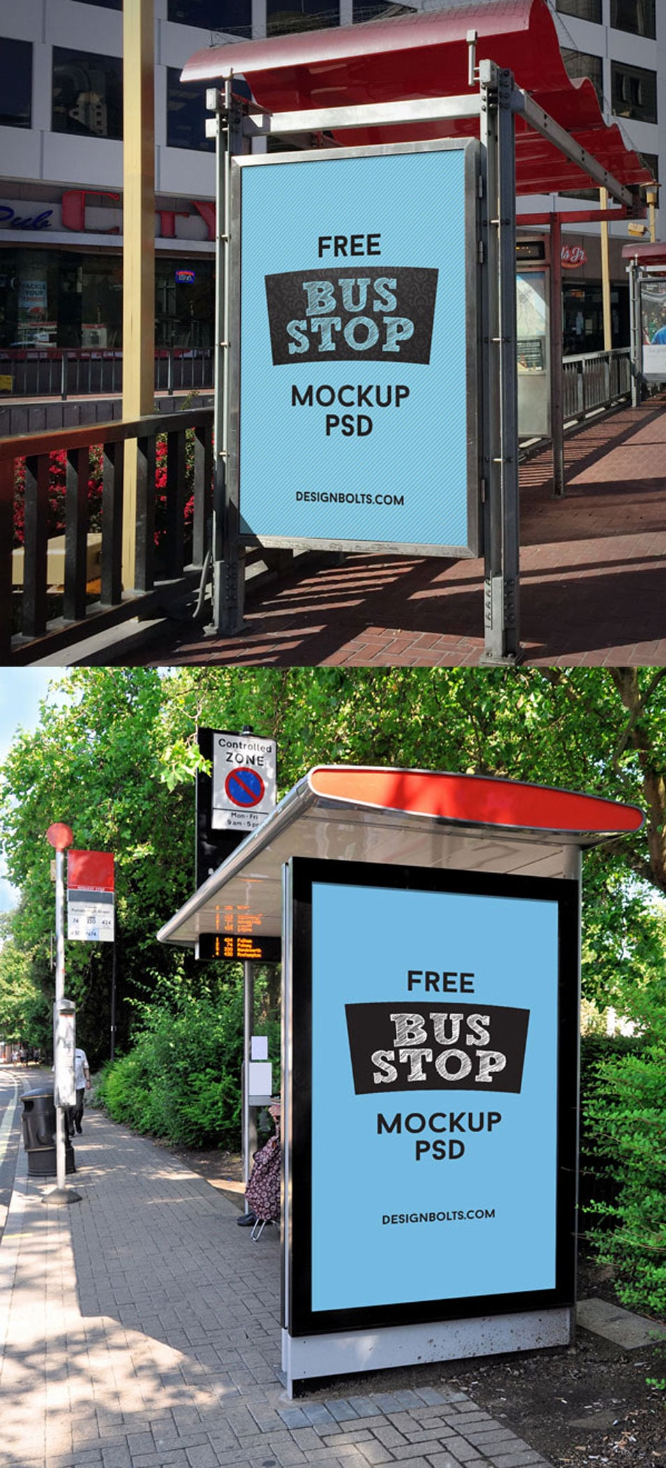2 Free HQ Outdoor Advertising Bus Shelter Mock-up PSD