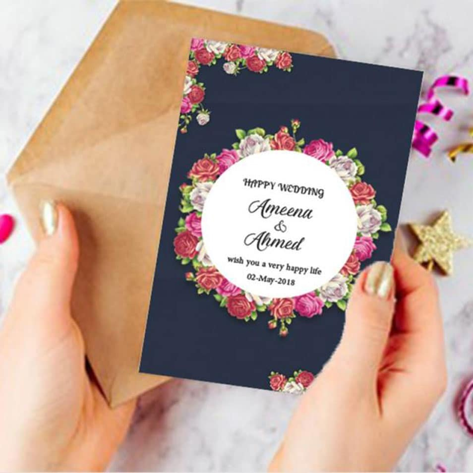 Black Wedding Card Mockup Template