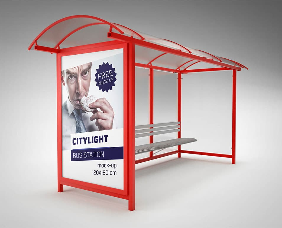 Citylight Bus Station Billboard Mockup
