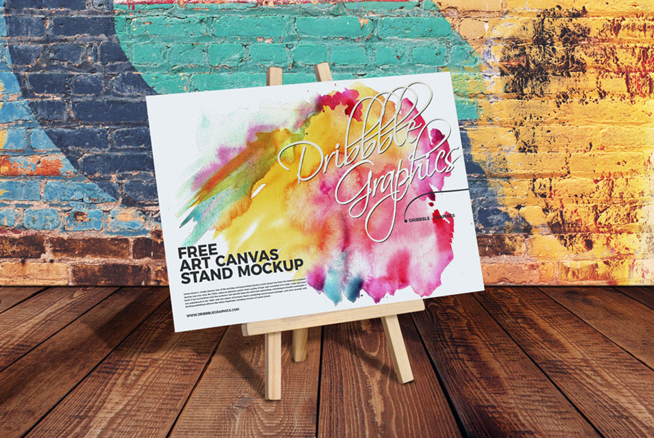 Free Art Canvas Stand Mockup PSD