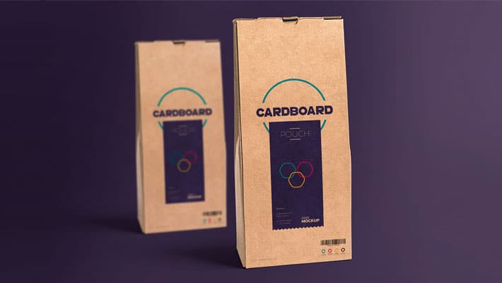 Free Cardboard Pouch Packaging Mockup