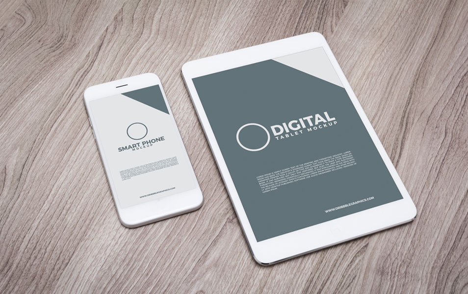 Free Digital Tablet With Smart Phone Mockup
