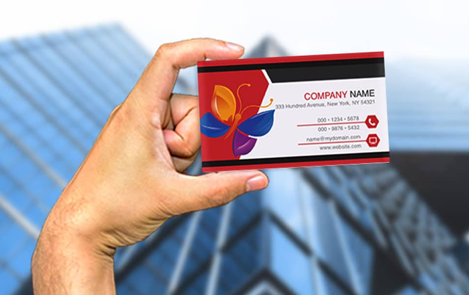 Free Mockup Hand Holding Company Business Card